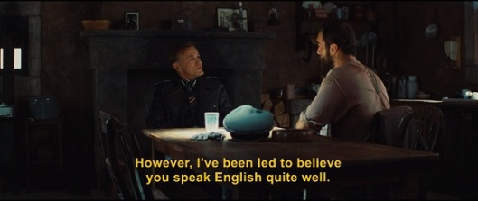 Christoph Waltz in the opening scene of Inglorious Basterds